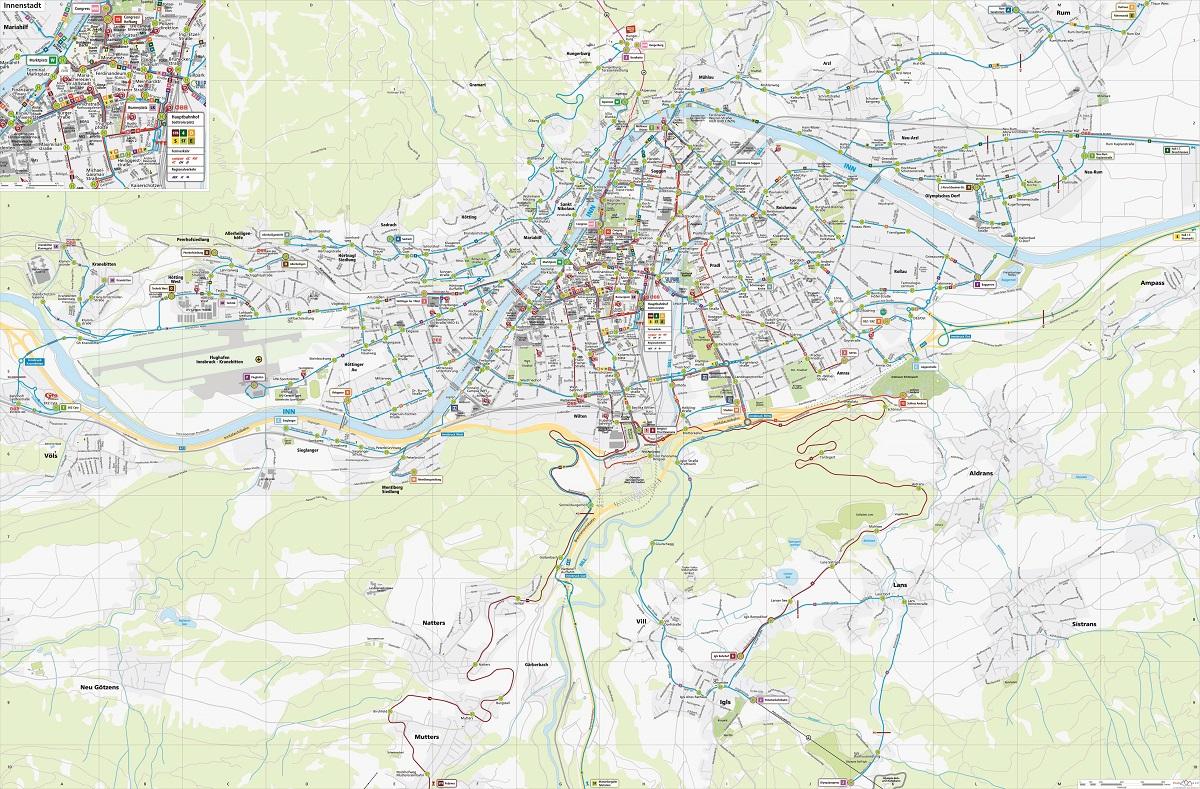 Topographischer IVB Liniennetzplan